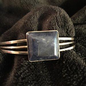 Vintage Sodolite sterling cuff bracelet